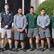 Congratulations to WHS students who made the Wanganui U18 Rugby Rep Team 2017. L>R: Mairangi Tamehana,Zane Puklowski,Emmanuelle Savage,Phoenix Kairimu,Kohlt Coveny & Tom Healy, Aug 2017.