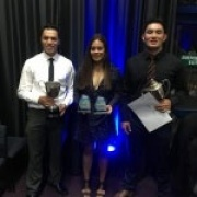 COACH OF THE YEAR - SEAN BROWN.  JUNIOR TEAM OF THE YEAR - WHS MIXED TOUCH TEAM (Ruhia Tamati & Mitchell Millar accepting the award), Whanganui Sports Awards 18/11/16.