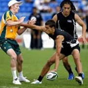 NEW ZEALAND v AUSTRALIA 2012, SEAN BROWN in action (blue shoes).