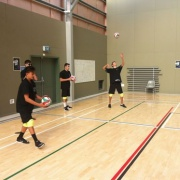 Boys team warming up at NSS Volleyball Champs, Palmerston North, 26 > 31 March 2017.