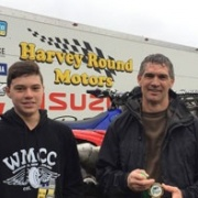 WHS student RIKI & Shayne Wainhouse with their PRIZES - 4 Hr & Jnr 90 x-country endurance racing at Taupo, RIKI WON 12-14 yr div Jnr 90 race; Olly Dennison 6th 14-16 Jnr class, Blake Rountree 10th same grade; Chron 31/10/17.
