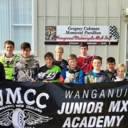 Whanganui Jnr MX Academy riders A Sullivan (left), J Cooper, C Tylee, Riki Wainhouse (WHS student), T Edwards, Logan Smith (WHS student), T England, Alex Luff-Scott (WHS student), M Barron, J Ashworth, T Bullock & L Mallinder, flanked by Nationally ranked No 3 Cody Cooper (left) & No 1 Rhys Carter, Chron 19/4/17.