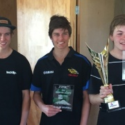 WHS motocross riders BLAKE ROUNTREE, JAMES ROUNTREE & OLIVER DENNISON with their trophy from the Taranaki Secondary Schools Champs, Chron 21/3/17.