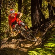 THREE-TIME CHAMPION SAM BLENKINSOP (ex student) in action during the Dodzy Memorial Enduro Mountainbike race at the Wairoa Gorge; Feb 2017. PHOTO: Mark Bridgwater