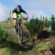 Cameron Russell (WHS) gets some air on a fast downhill section of the exciting new mountain bike course at Araheke in Whanganui, Midweek 6/7/16.