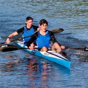 JACK CLIFTON & LUCAS THOMPSON: GOLD (National title) U16 K2, NZ Canoe Marathon Champs, 8 & 9 April 2017.