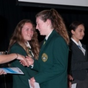 Y13 WHS kayaker ERICA TANNER claimed SENIOR SPORTSWOMAN OF THE YEAR title receiving her award from netball international Joline Henry. Erica WON the award for Kayaking & Multisport achievements, Oct 2015.