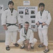 Whanganui judokas KEIGHTLEY WATSON (left), Garry Davies & Liam Goodhall share the spoils at National Judo Champs, Wellington, Chron 5/10/17.