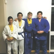 Whanganui Judo Players to represent NZ at Oceania Judo Champs in Tonga 27 & 28 April 2017. L>R: Angus, Liam Goodhall, former student FINN BROWN & KEIGHTLEY WATSON.