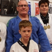 THE CLAN: The Whanganui Watsons, KASEY (left), Wayne & KEIGHTLEY joined up-&-coming jnr Marshall Littlefair to bring home 10 MEDALS from National Judo Champs in AK, Oct 2016.
