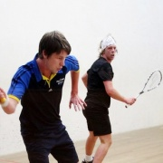 Former professional & No 1 seed JOSEPH WATTS (former student - foreground) claims victory in the Wanganui Squash Men's Open, Chron 28/4/16.
