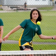 India-Rose Wallace (left) & Holly-Rae Mete team up in the newly-launched Monday evening secondary novice doubles league, Chron 1/3/17.