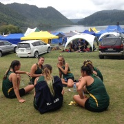NZSS Waka Ama Nationals 19>23 March 2018; girls preparing for the race.