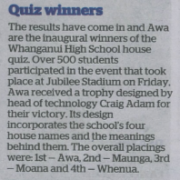 QUIZ WINNERS, Wanganui Chronicle 8/8/18.