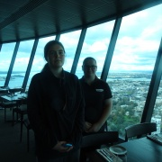 Britney (left) and Caitlyn in the Sky Tower Restaurant, Auckland.