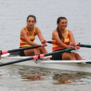 AWRC's Mahina Barritt & Ranita Kirk (both WHS students) relax after coming 3rd in the Womens Novice double sculls at the Whanganui Rowing Champs, Chronicle 13/2/18.