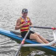 One of three GOLD Medals for AWRC single scull Luke Watts at NZ Rowing Champs, Lake Karapiro, Chronicle 19/2/18.