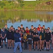 Learn to row for fun and fitness. Pedro Figueira (front centre) with WHS rowers & volunteer coach Peter Smith, Wanganui Chronicle 16/5/18.