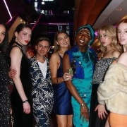 Kerry Ranginui with Dante Numa, Isabelle Steinmann, Rael Wright, Lenon Wakauwa, Tasha Sylva Levett and Christina Zingel at the Project Runway launch Party.  PHOTO / Norrie Montgomery.