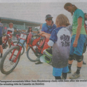 Whanganui mountain biker Sam Blenkinsop chats with fans after his world title-winning ride in Canada, Chronicle 22/8/18.