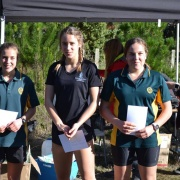 Yr 11-13 Girls: Libby Abbott (right) 1st; & Rebecca Baker (left) 3rd;  WSS Mountain Bike Champs at Pauri Lake MTB Course, Kaitoke 22/6/18.
