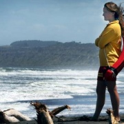 Clarissa Nowak patrols Castlecliff Beach, as she was in the moments before she became involved in the NZ RESCUE OF THE YEAR 2018.. in February 2017, Chronicle 2/10/18.
