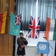 Angus Pitkethley played 'Flower of Scotland' on his bagpipes at lunchtime.