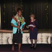 Judah Tamaniyaga accepting Trophy for Pasifika Leadership - Male