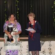 Maioha Sadlier accepting Trophy for Pasifika Leadership - Female