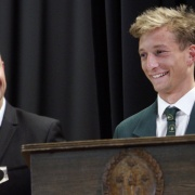 WHS Hockey star JORDAN COHEN is pleased with his SENIOR NATIONAL SPORTSMAN OF THE YEAR prize at the WSS Sports awards, 31/10/18.  PHOTO / Stuart Munro.