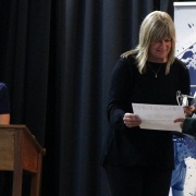 WHS Hockey representative REBECCA BAKER claims her JUNIOR NATIONAL SPORTSWOMAN OF THE YEAR prize from Lisa Murphy at the WSS Sports awards, 31/10/18.  PHOTO / Stuart Munro.