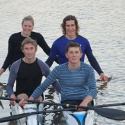 SOPHIE BROOKE (back left), JACK CLIFTON, LUCAS THOMPSON (front left) & LIAM LACE held their own at the inaugural Asia Pacific Sprint Kayak Regatta in Adelaide on May 12-13. Lace & Clifton (part of NZ U18 K4 crew) GOLD 1000m, SILVER  500m; Clifton K2 event, SILVER in both 500m & 1000m; Brooke (NZ K4 crew U16) GOLD 200m; Thompson K2 1000m finishing 4th, Chronicle 22/5/18.
