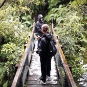 Mr Watkins OAS1 class tramping all the way down to Dawson Falls, Mt Taranaki, 7/6/18.