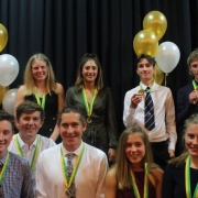 Lucas Thompson (back, right) - BLUE AWARD (highest level of his sport at secondary school level) - NZ U18 Team, Canoeing; WHS Sports Awards 18/10/18.