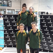 WHS Mixed Freestyle Relay Team 6th in NZ U16!  L>R; front - Blair Gowan, Lennart Nowak; back - Amelia Cronin, Cayden Earles. NZSS Swimming Champs, Wellington Regional Aquatic Centre, 13-16 September 2018.