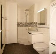 kleines Badzimmer mit Dusche und Waschturm