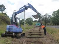 Track sets being made by track gang team near the Waitekauri Bridge.