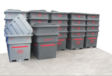1000L Plastic Offal and Food Processing Bins fork lift sleeves and bung drainage