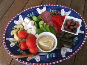 Enjoy a Mediterranean Platter for two when you arrive at the Lodge