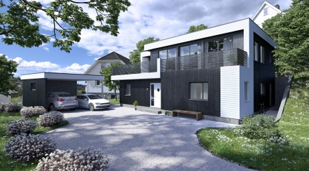 Arkitekttegninger av funkishus i Bergen