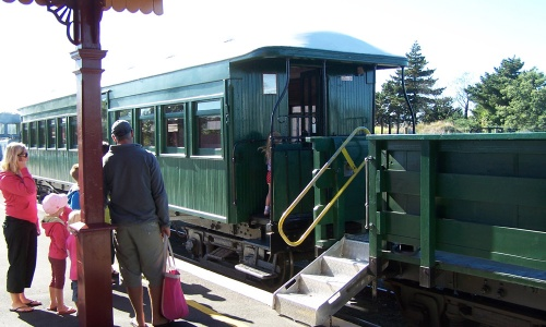 Boarding the train at Waihi Station