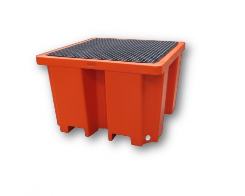 IBC spill containment pallet bund with FRP grate