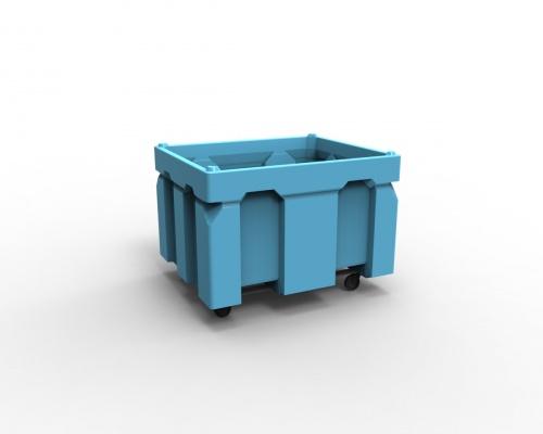 750L Box bin & castor wheels - Plast-ax