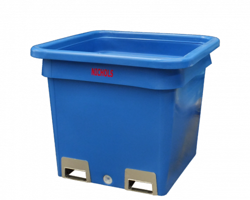 800L Bulk Containment Industrial Bin with Fork Sleeves, similar to Nally and Dolav injection moulded equivalents