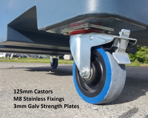 Front Load 125mm Castors and Strength Plates