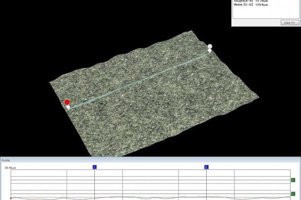 Implant Material 1 SLA Surface. Profile measurent. Keyence 2000.
