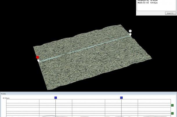 Implant Material 2 SLA Surface. Profile measurent. Keyence 2000.