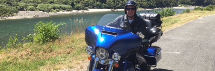 Paul Bennett enjoying the South Island of New Zealand by Harley Davidson