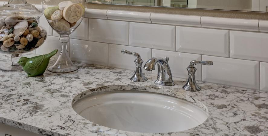 Classic Beveled White Subway tile - Sammamish Bathroom Remodel