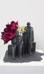 Marx and Engels; artificial flowers, pla plastic, resin and epoxy